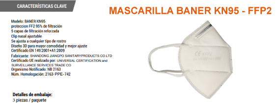 MASCARILLAS 3 UDS