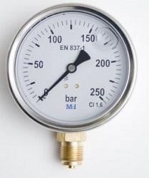 Manómetro De Glicerina Industrial 160mm relleno entrada inferior 1/% Acc
