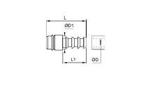 ACOPLADOR CON ESPIGA ACANALADA PARA TUBO FLEXIBLE DIAMETRO 19 MM 20.5 MM REF. LEGRIS 2295 18 20