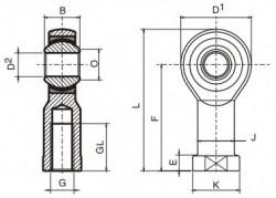 ROTULA HEMBRA M16X1.5 INOX SIN MANTENIMIENTO